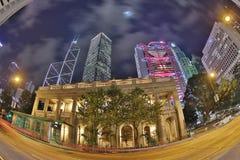 Nattsikt av Hong Kong Legislative Council Building Arkivbild