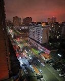 Nattsikt av kinesiska bostadsområden royaltyfria foton