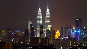 Nattsikt av Kuala Lumpur horisont Arkivfoto