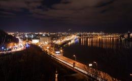 Nattsikt av Kyiv Royaltyfri Bild