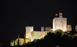 Nattsikt av La Alhambra grenada Arkivfoton