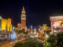 Nattsikt av Las Vegas, Nevada, på jul royaltyfri fotografi