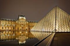 Nattsikt av Louvre Art Museum, Paris, Frankrike. Arkivbild