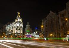 Nattsikt av Madrid i jul Royaltyfri Bild