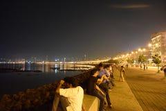 Nattsikt av marin- drev Mumbai Arkivbilder