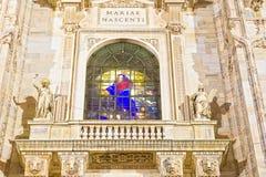 Nattsikt av Milan Cathedral eller Duomodi Milano Fotografering för Bildbyråer