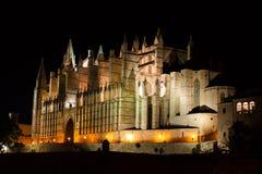 Nattsikt av Palma de Mallorca Cathedral, La Seu, från Parc de la Fördärva Palma Majorca arkivfoto