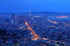 Nattsikt av San Francisco horisont Arkivfoto