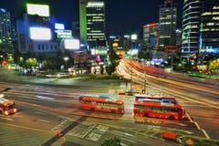 Nattsikt av Seoul arkivfoto