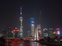 Nattsikt av Shangai Royaltyfri Foto