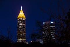 Nattsikt av skyskrapor i midtownen Atlanta, USA Royaltyfria Foton