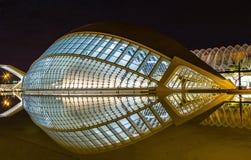 Nattsikt av staden av konster och vetenskaper med reflexionen, Valencia, Spanien Royaltyfri Fotografi