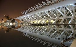 Nattsikt av staden av konster och vetenskaper med reflexionen, Valencia, Spanien Arkivbild