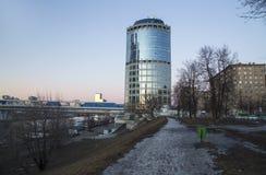 Nattsikt av tornet 2000, internationell affärscentrumstad för Moskva Ryssland Arkivfoto