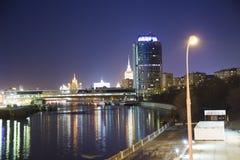 Nattsikt av tornet 2000, internationell affärscentrumstad för Moskva Ryssland Royaltyfri Foto