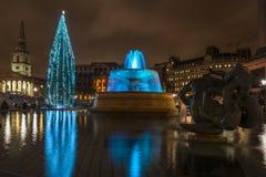 Nattsikt av Trafalgar Square med julträdet Fotografering för Bildbyråer
