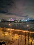 Nattsikt av vinterMoskva Arkivfoto