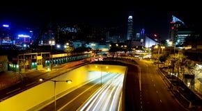 Nattsikt i Hong Kong royaltyfri fotografi