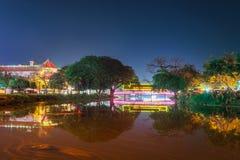 Nattsikt i Siemreap, Cambodja Royaltyfri Bild