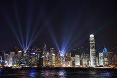 Nattsikt på den Hong Kong ön Arkivbilder