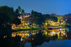 Nattsikt Ping River Chiang Mai Arkivbild
