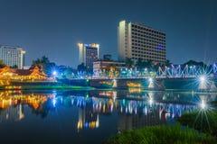 Nattsikt Ping River Chiang Mai Arkivbilder