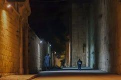 Nattsikten av den forntida staden av Jerusalem royaltyfria foton