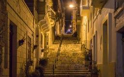 Nattsikten på en bakgata går uppför trappan, ljus och ledstången som täckas av gamla husfasader Några blommor i krukan Hänga för  arkivbild