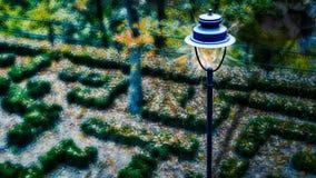 Nattsikten, parkerar ljus Fotografering för Bildbyråer