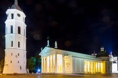 Nattsikter av staden Vilnius Royaltyfri Fotografi