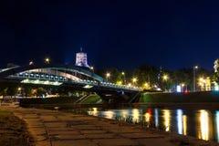Nattsikter av staden Vilnius Fotografering för Bildbyråer