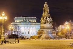Nattsiktskejsarinna av Ryssland Catherine IImonument, St Petersburg Fotografering för Bildbyråer