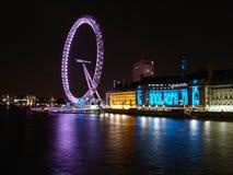 Nattskott av det London ögat Royaltyfri Foto