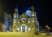 Nattskott av kyrkan Arkivfoto