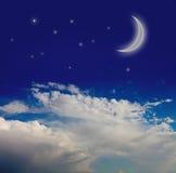 Nattsky med moonen Royaltyfri Fotografi