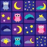Nattsky med owls Arkivfoto