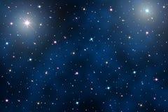 NattSky med stjärnor Arkivbilder