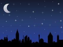 Nattsky med stjärnor Arkivfoto