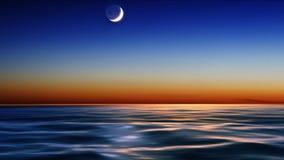 Nattsky och hav Arkivbild