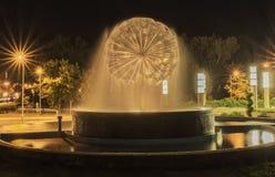Nattspringbrunnbild Arkivbild