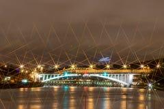 Nattstad av nattMoskva Fotografering för Bildbyråer
