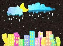 Nattstad med stjärnor vektor illustrationer