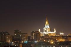 Nattstad, nattMoskva Arkivfoton