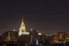 Nattstad, nattMoskva Arkivbilder