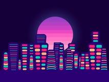 Nattstad på en solnedgångbakgrund Retro panorama av 80-tal, 90-tal turist- stad vektor stock illustrationer