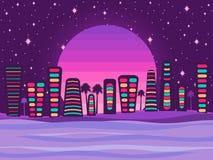 Nattstad på en solnedgångbakgrund, en retro panorama av 80-tal, 90-tal Turist- stad vid havet vektor royaltyfri illustrationer