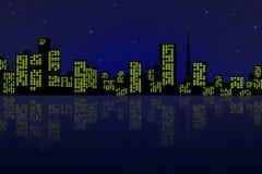 Nattstaden royaltyfria bilder