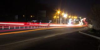 Nattstaden rusar Arkivfoton