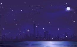 Nattstadsbakgrund Royaltyfria Foton