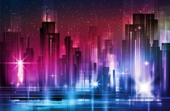 Nattstadsbakgrund Stads- stadgatahorisont Cityscapekonturer stock illustrationer